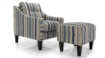 Bryn Chair and Ottoman in Striped Fabric