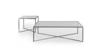Cross Over Glass Top Rectangular Coffee - End Tables