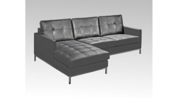 Logan Sectional in Charcoal Leather